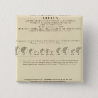 Idiots, Statistical US Lithograph 1870 Pinback Button