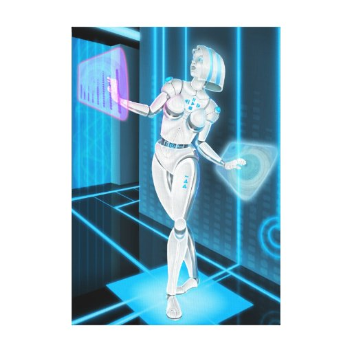 iDJ Girl Robot Android Sci-Fi Canvas Art Stretched Canvas Prints