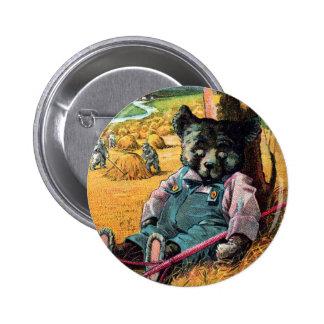 Idle Bear Ike - Letter I - Vintage Teddy Bear Pinback Button
