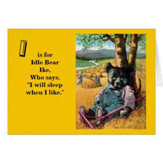 Idle Bear Ike - Letter I - Vintage Teddy Bear Card