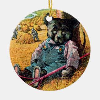 Idle Bear Ike - Letter I - Vintage Teddy Bear Ceramic Ornament