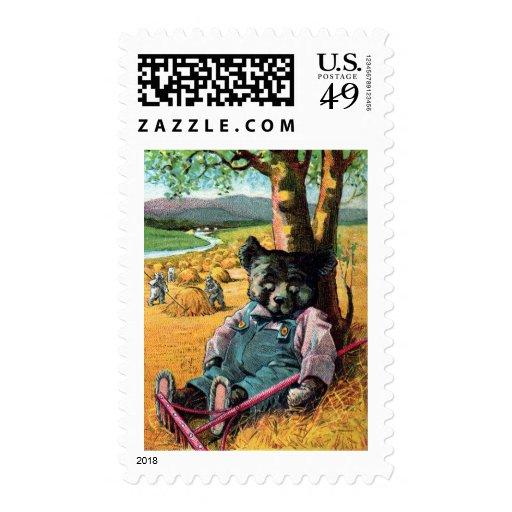 Idle Bear Ike - Letter I - Vintage Teddy Bear Postage Stamps