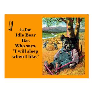 Idle Bear Ike - Letter I - Vintage Teddy Bear Postcard