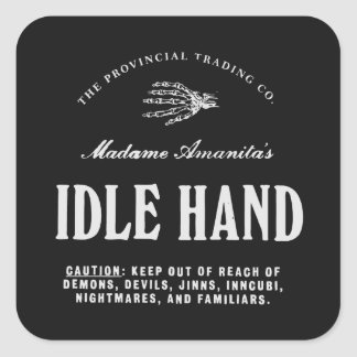 Idle Hand - apothecary label Stickers