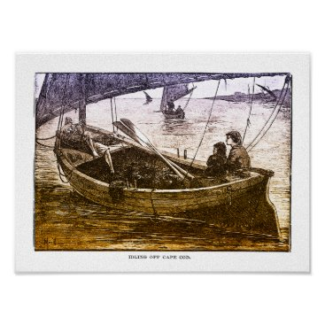 USA Themed Idling Off Cape Cod - Vintage Print On Canvas