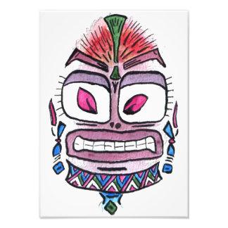 Ídolo malvado - caricatura tribal de la acuarela impresión fotográfica