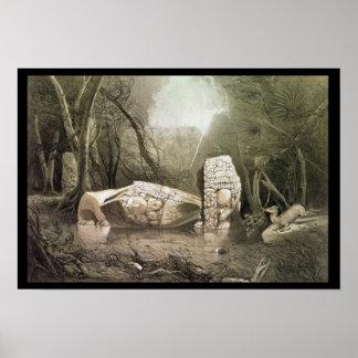 Ídolo maya quebrado en Copan Guatemala Posters