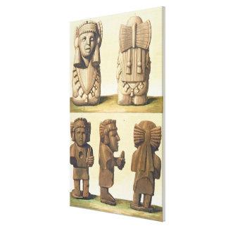 Ídolos aztecas México litografía de color Impresión En Lona Estirada