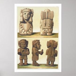 Ídolos aztecas México litografía de color Impresiones
