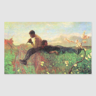 Idyl by Giovanni Segantini Rectangle Stickers