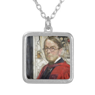 Idyll Pastor by Stained Glass Square Pendant Necklace