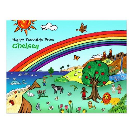 Idyllic Children's Landscape -- Paradise Notes Personalized Invitation