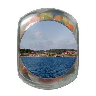 Idyllic coast landscape glass candy jar