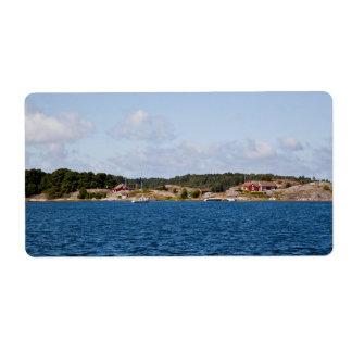 Idyllic coast landscape label