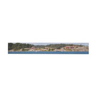 Idyllic coast landscape wrap around address label