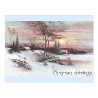 Idyllic Country Winter Scene with Pink Sunset Postcard