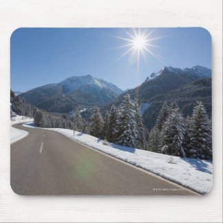 Idyllic empty road thrugh a winter landscape, 2 mouse pad