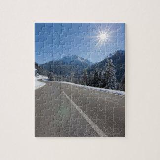 Idyllic empty road thrugh a winter landscape, jigsaw puzzle