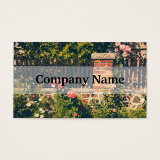 Idyllic Garden With Roses, Wooden Fence Business Card