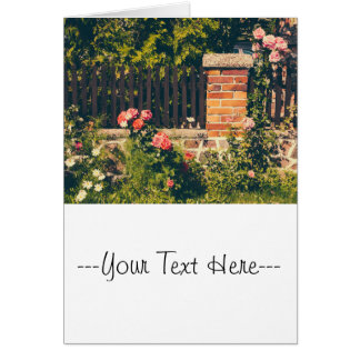 Idyllic Garden With Roses, Wooden Fence Card