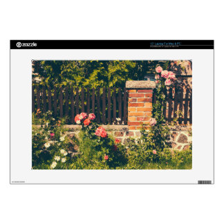 Idyllic Garden With Roses Wooden Fence Skins For Laptops