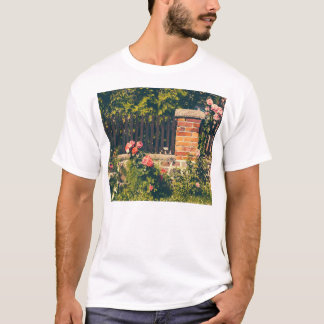 Idyllic Garden With Roses, Wooden Fence T-Shirt