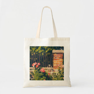 Idyllic Garden With Roses, Wooden Fence Tote Bag