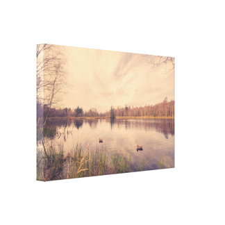 Idyllic lake with lure ducks canvas print