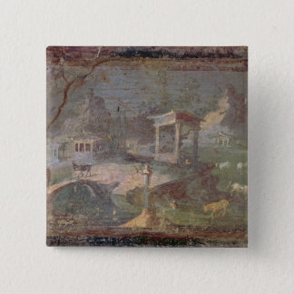 Idyllic Landscape, from Herculaneum, Pinback Button