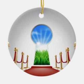 Idyllic landscape keyhole door ceramic ornament