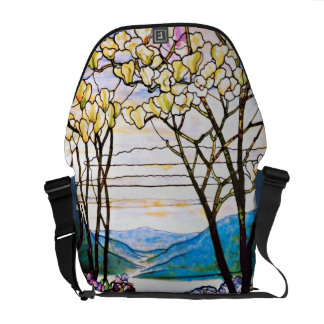Idyllic Landscape Tiffany Stained Glass Messenger Bags