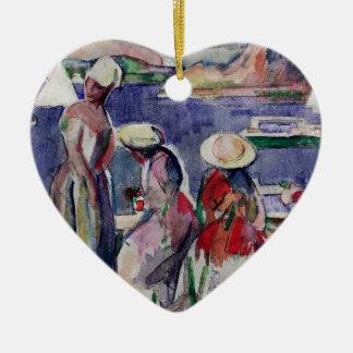 Idyllic Promenade Double-Sided Heart Ceramic Christmas Ornament