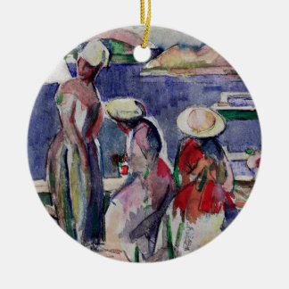 Idyllic Promenade Double-Sided Ceramic Round Christmas Ornament
