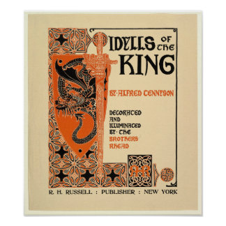 Idylls of the King 1898 design by Louis Rhead Poster