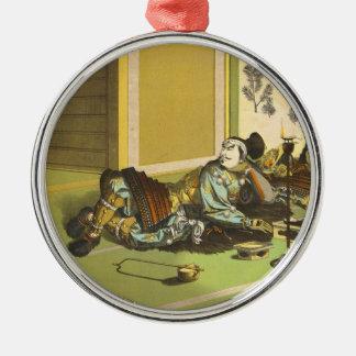Ieyasus Bravery  Litho Tsuchiya Koitsu samurai art Metal Ornament