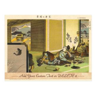 Ieyasus Bravery  Litho Tsuchiya Koitsu samurai art Post Card