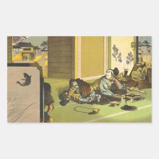 Ieyasus Bravery  Litho Tsuchiya Koitsu samurai art Rectangular Sticker
