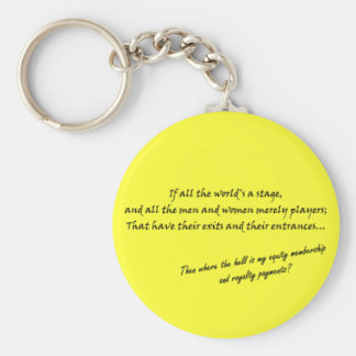 'If all the world's a stage...' Basic Round Button Keychain