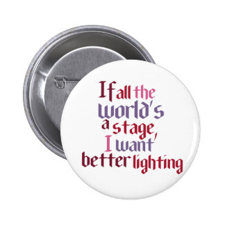 If All The World's A Stage I Want Better Lighting Pinback Button