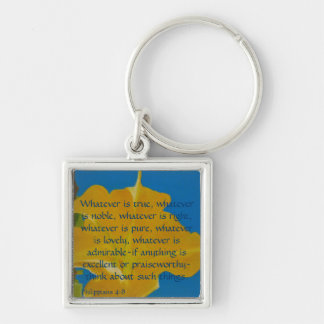 If Anything is Excellent or Praiseworthy Silver-Colored Square Keychain