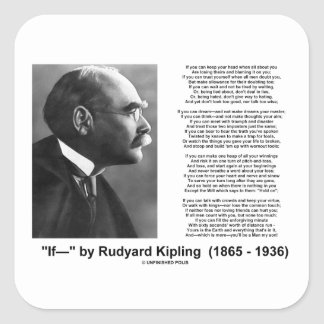 If- by Rudyard Kipling Motivational Advice Poem Square Sticker