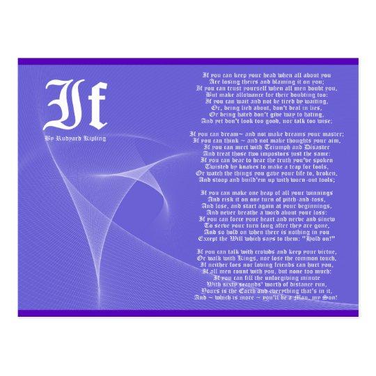 IF by Rudyard Kipling Purple Postcard