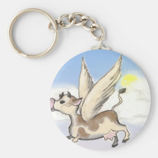 If Cows could fly... Basic Round Button Keychain