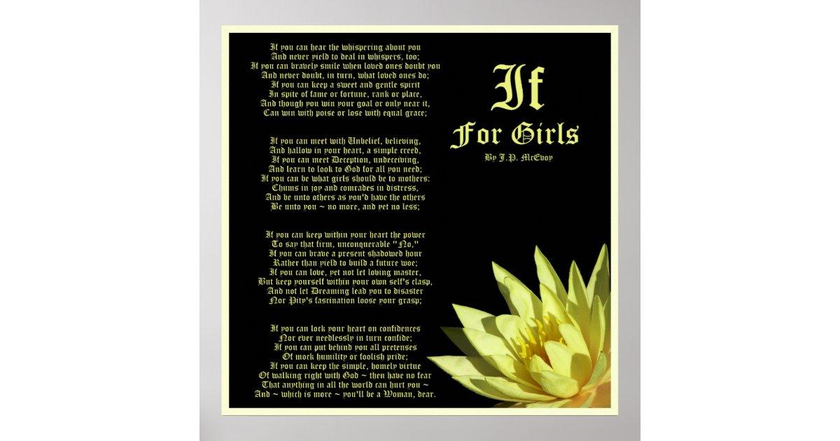 if for girls poem by j p  mcevoy print