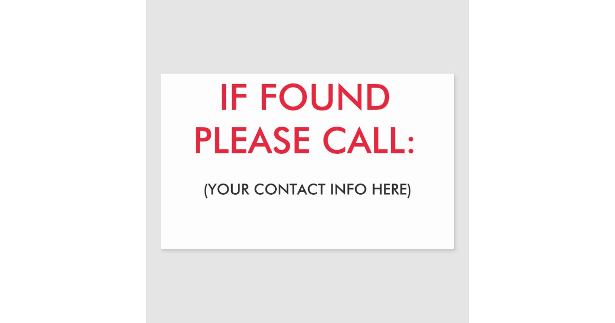 If Found Please Call Labels Zazzle Com