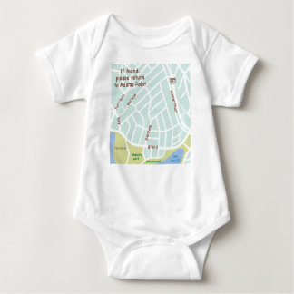 If found, please return to Adams Point. Baby map Baby Bodysuit