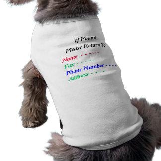 If Found, Please Return To, Name  .dog t-shirt Doggie Shirt