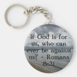 If God is for us, who can ever be against us? Basic Round Button Keychain