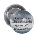If God is for us, who can ever be against us? 2 Inch Round Button