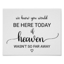 If Heaven Wasn't So Far Away Wedding Memorial Poster